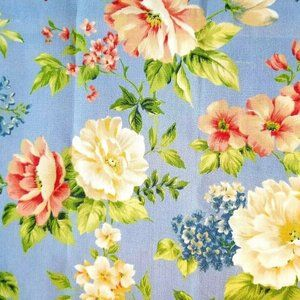 Blue Floral Linen Cotton Canvas Home Decor Fabric